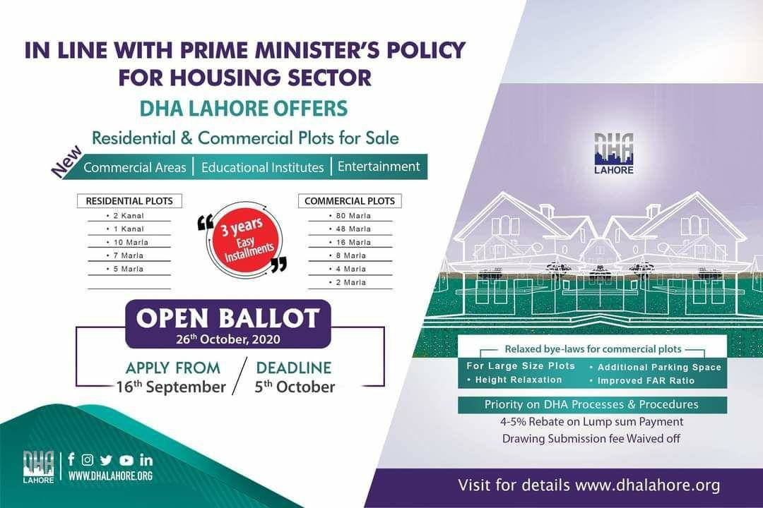 DHA Lahore Open Ballot 26 October 2020