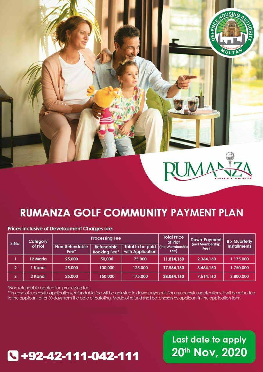 DHA Multan Rumanza Golf Community Plots Booking