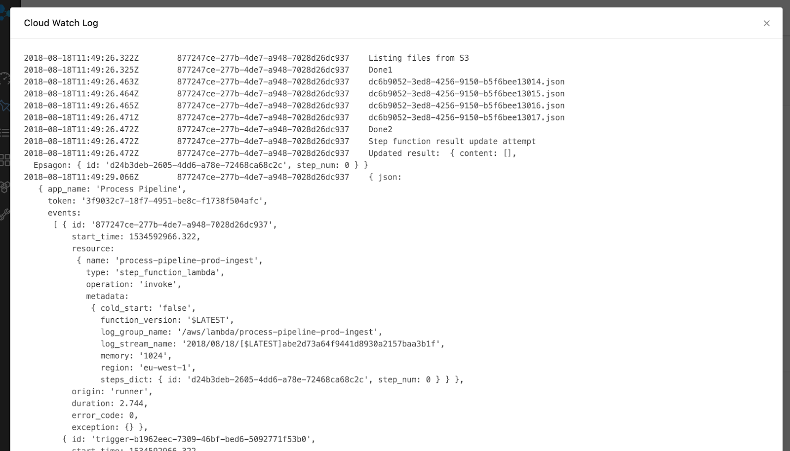 AWS Step Functions CloudWatch Log