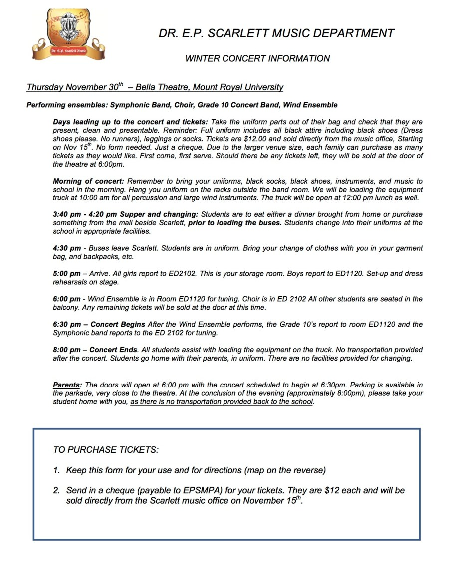 Winter concert information and instructions Page 1