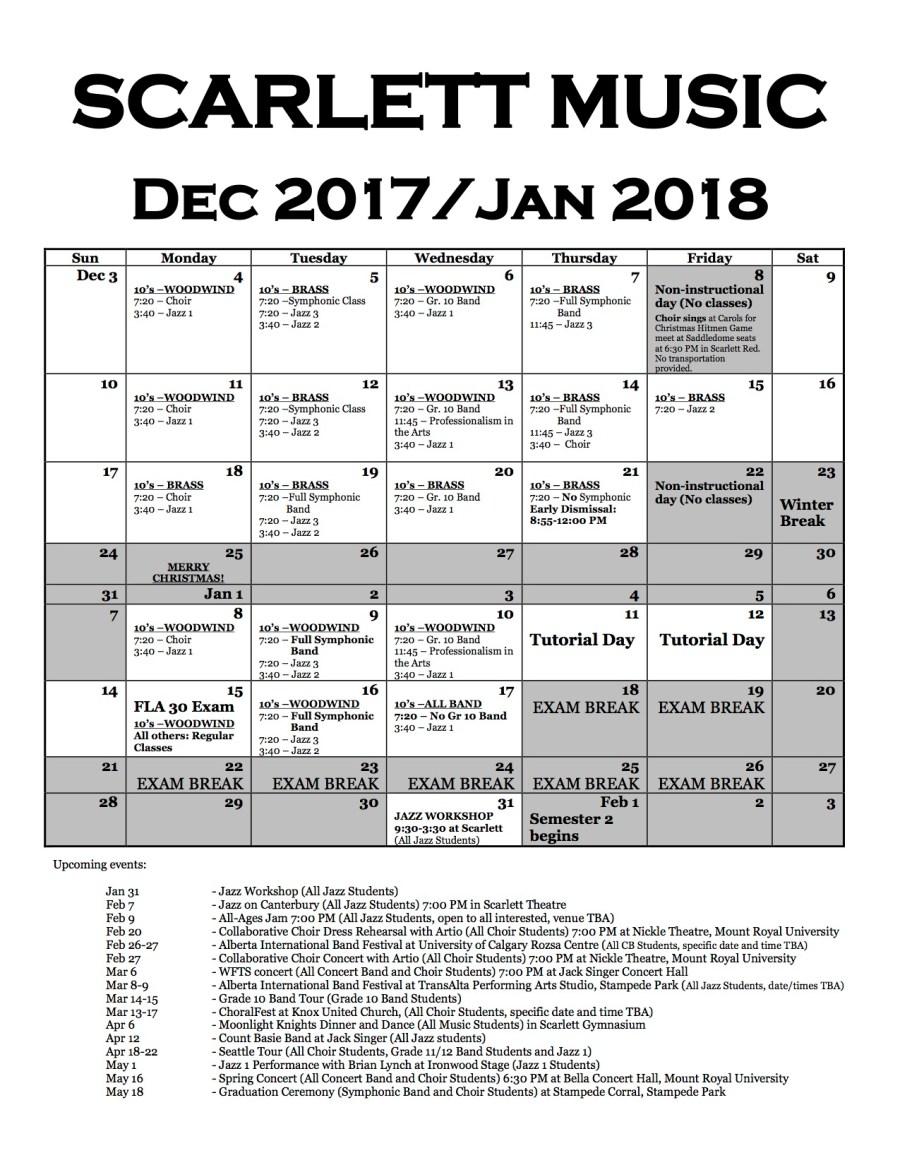 Dec:January Calendar 2017