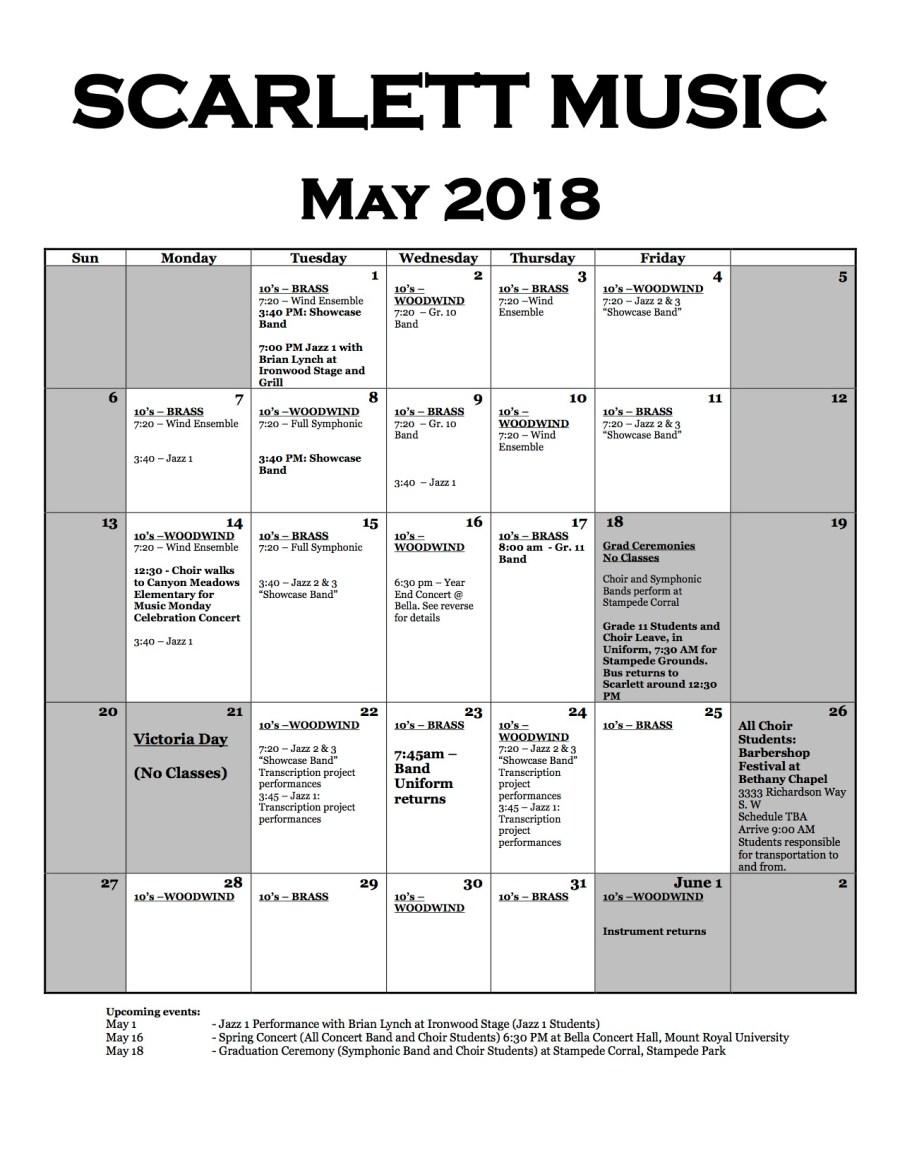 Music Music Calendar (May 2018)