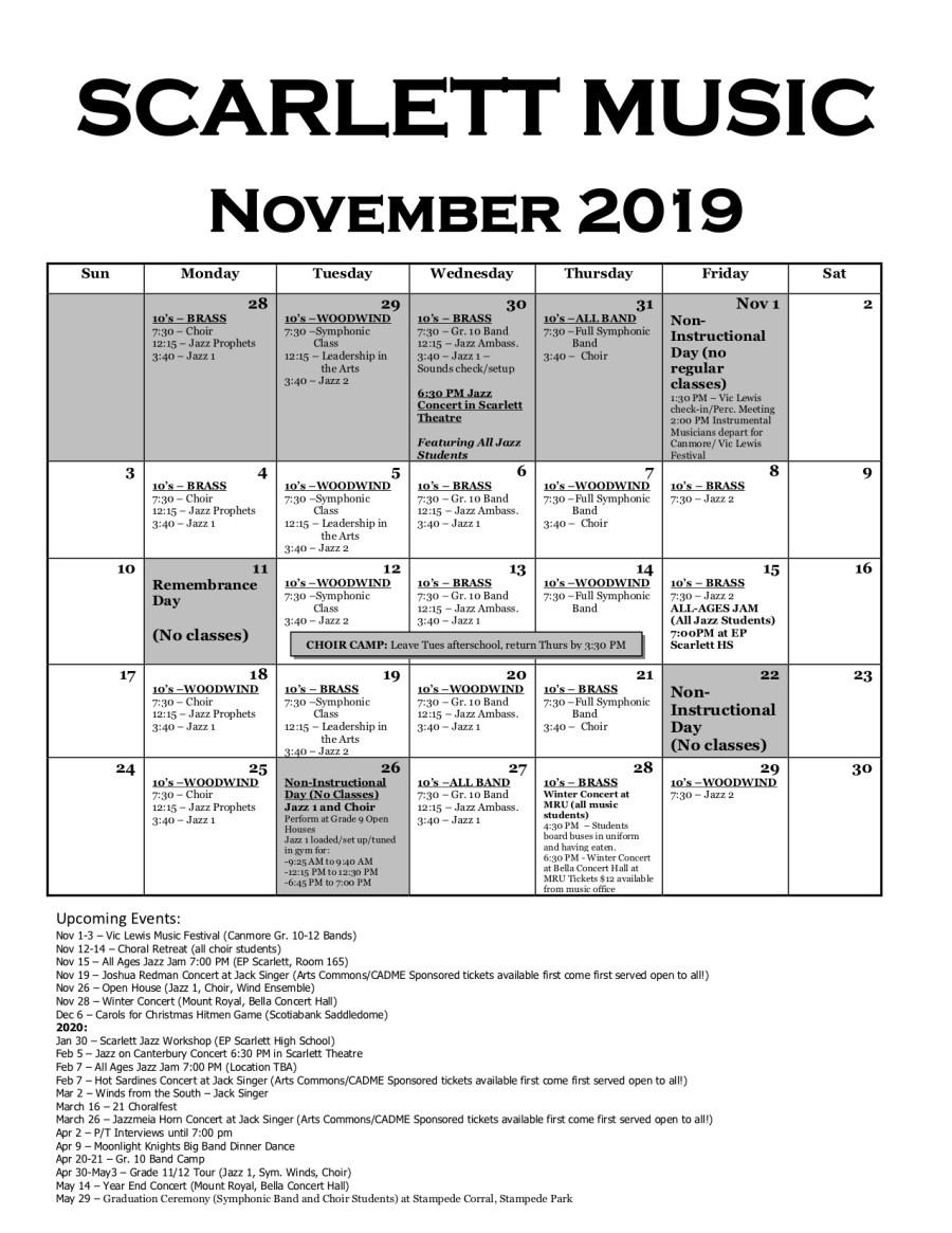 November 2019 Scarlett Music Calendar