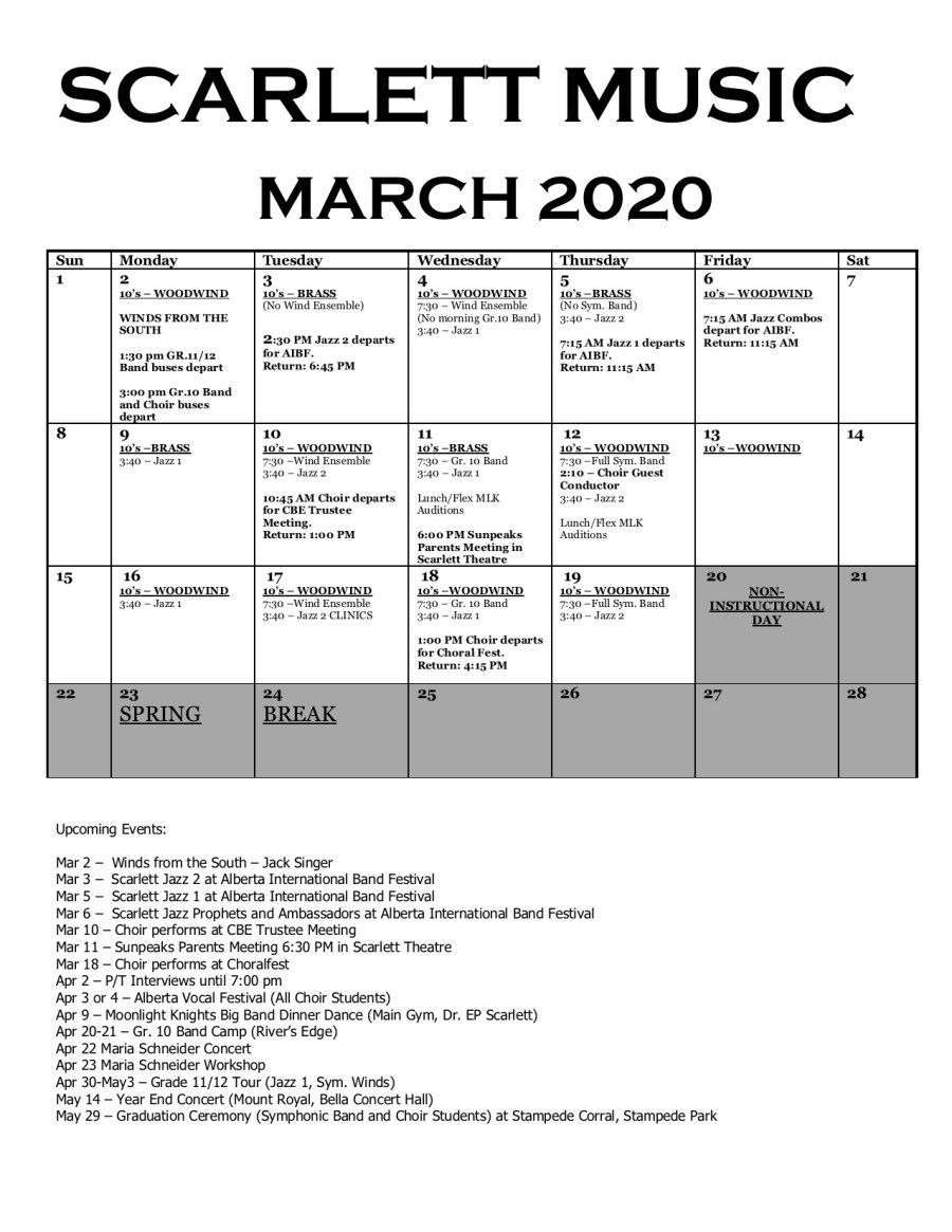 March Music Calendar 2020