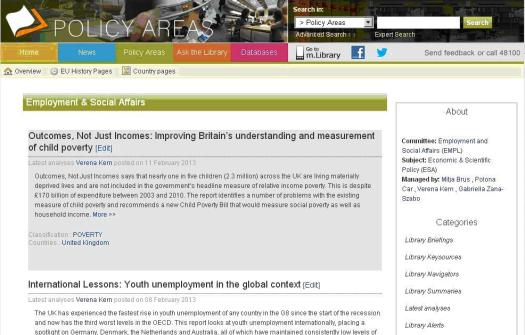 A Policy Area page on the Library Intranet Site
