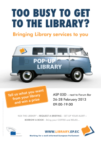 Invitation to the Library stand
