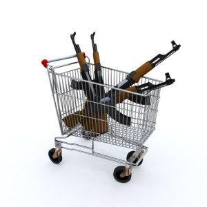 The shopping cart loaded with the kalashnicov