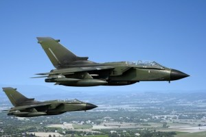 Two green fighter jets