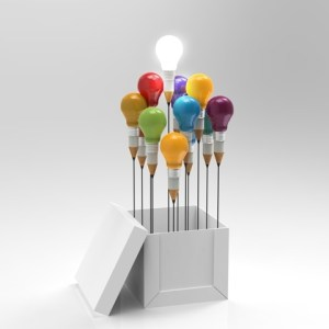 Pencil and light bulb concept outside the box as creative and leadership concept