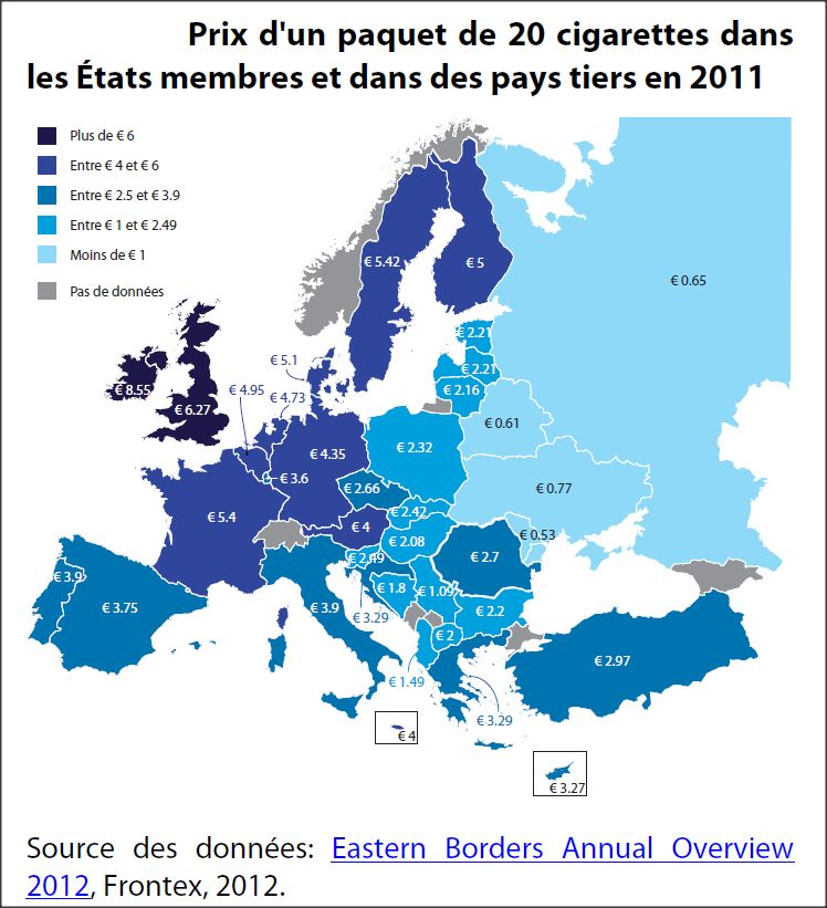 Prix d'un paquet de 20 cigarettes dans les Etats membres et dans des pays tiers en 2011