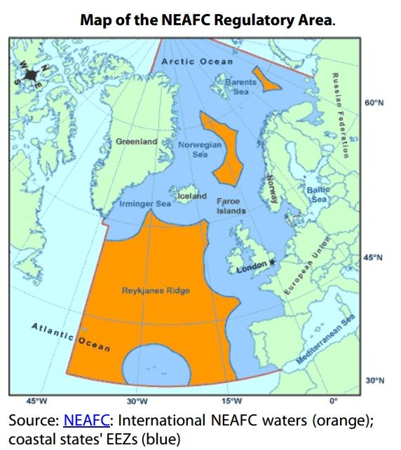 Map of the NEAFC Regulatory Area