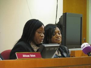 Fatou Bensouda, ICC chief prosecutor (left) at an AU event