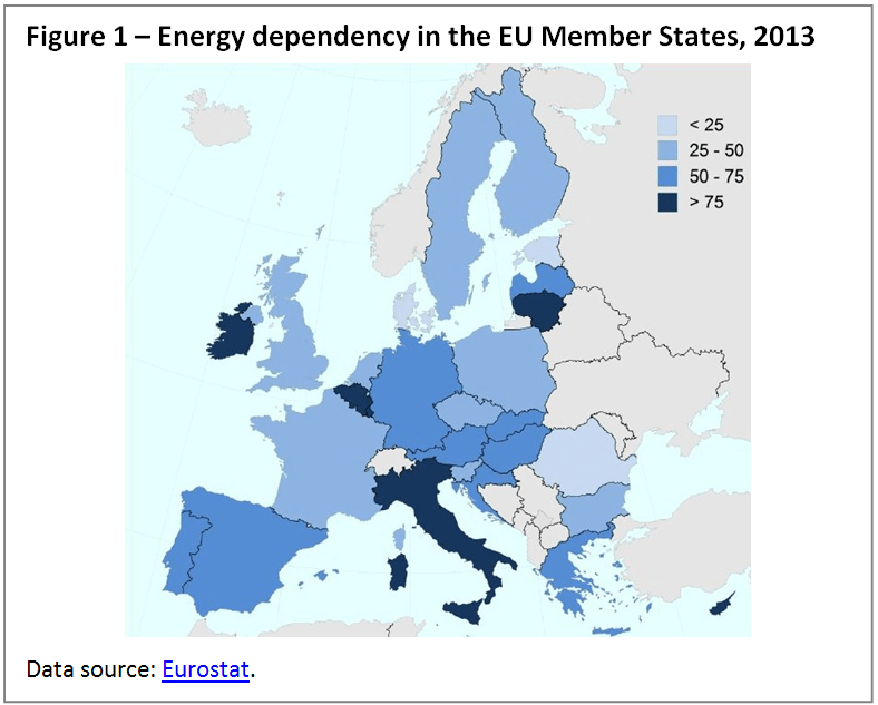 Energy dependency in the EU Member States, 2013