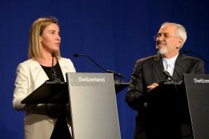 Federica Mogherini and Mohammed Javad Zarif in Lausanne
