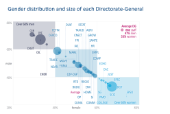 Gender distribution and size of each Directorate-General