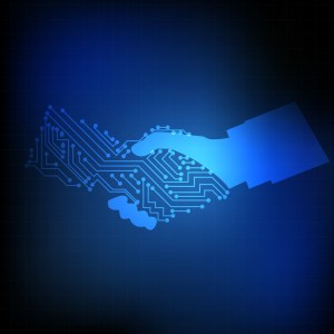 Electronic circuit on hand shaking on blue background