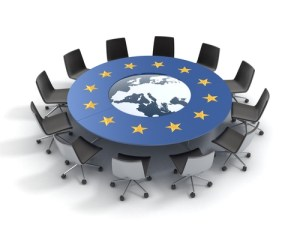 A table with EU stars and a map