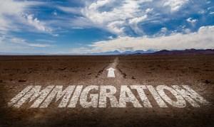 Immigration written on desert road
