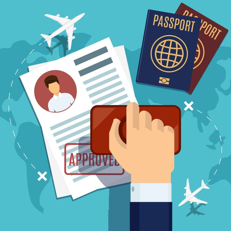 Visa stamping. Passport or visa application. Travel immigration stamp, vector illustration