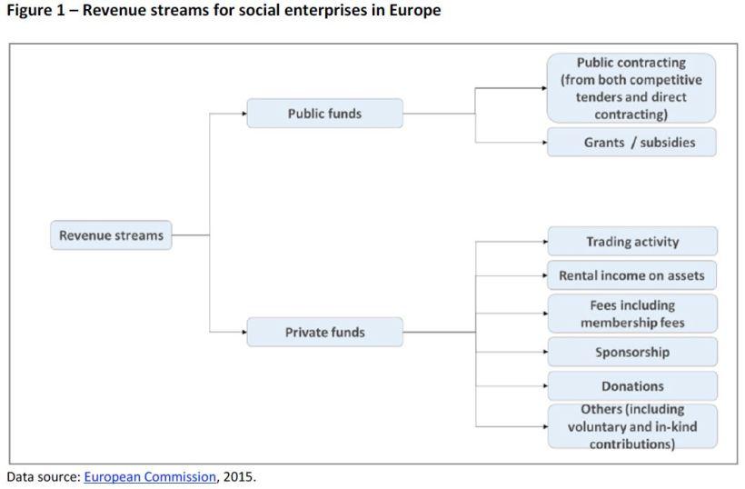 Revenue streams for social enterprises in Europe