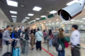 immigration control at airport, security technology concept.