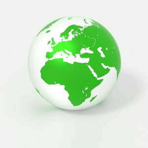 Green globe isolated on white with europe in the spotlight environment concept 3D illustration
