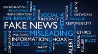 Fake news word tag cloud. 3D rendering, blue variant.