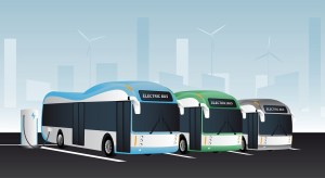 Electric buses are charged at the charging stations.