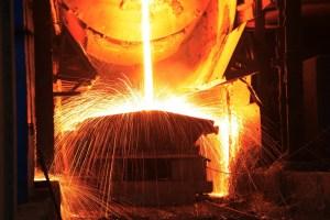 Steelmaking workshop,sparks fly, very beautiful