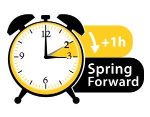 Summer time. Daylight saving time. Spring forward alarm clock vector icon II.