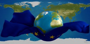 stretched rescue jump sheet world with flag of Europe design 3d-illustration. elements of this image furnished by NASA