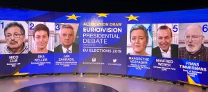 Lead candidates of the six European political parties due to participate in the Eurovision debate, to be held in Parliament's Brussels hemicycle, on 15 May 2019.