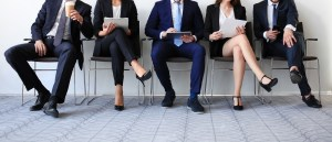 Stressful people waiting for the job interview