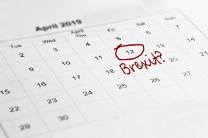 Brexit concept. March 12th, the new proposed date of Brexit, written and circled on a calendar.