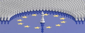 EU parliament, leadership, Members of European Parliament as pawns and a chess king on European Union flag, banner. 3d illustration