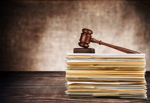 Law. Gavel on stack of documents