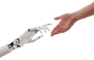 Human and Robot Hands Reaching Artificial Intelligence Concept 3