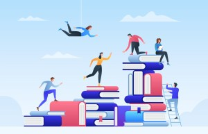Online education, path to success, levels of education, staff training, specialization, learning support. Vector illustration concept for web design, marketing, and print material.