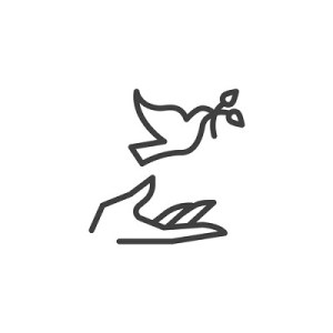 Hand and pigeon line icon. linear style sign for mobile concept