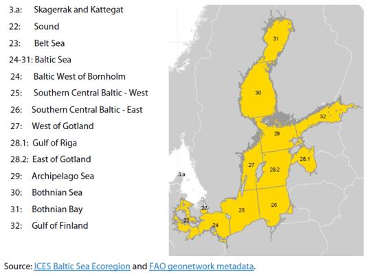 The Skagerrak, Kattegat, Sound, Belt Sea, and Baltic Sea (sub)divisions