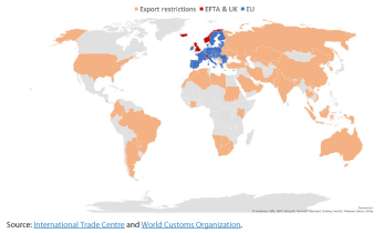 Temporary export restrictions on medical products in the world