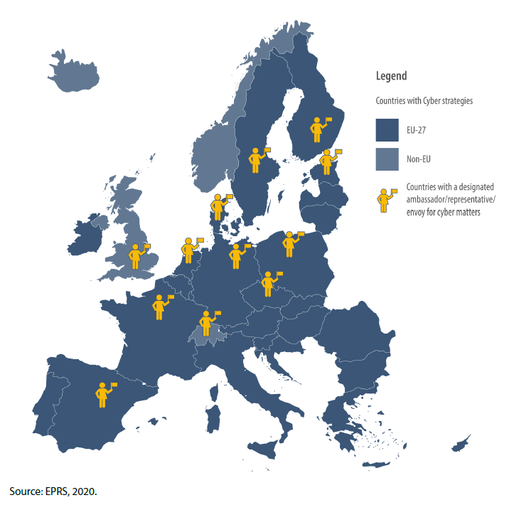 European countries with cyber strategies and representatives