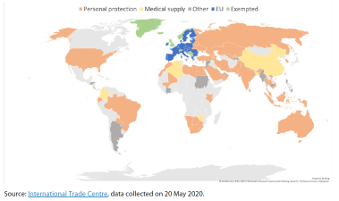 Temporary PPE export restrictions in the world