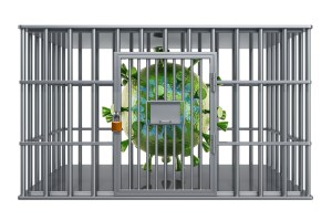 Coronavirus inside jail cell, quarantine concept. 3D rendering isolated on white background