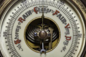 Slightly simplified image of a vintage barometer forecasting a change in the weather. Connotations of climate change and global warming