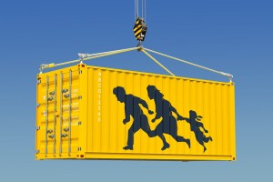 Migrant smuggling, illegal entry concept. 3D rendering
