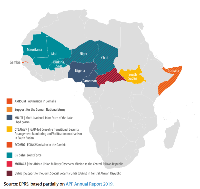 African-led peace support operations with ongoing APF/future EPF funding