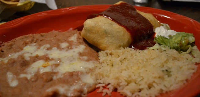 Veggie Chimichanga (vegetable medley with red sauce)