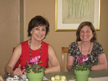 Satisfied smiles from Sue Tschol and maureen Callaway after eating the sushi and miso soup.