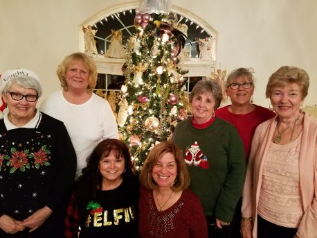 From Left BACK: Carol Fisher, Susie Skaggs, (SUB) Olivia Penny, Bonnie Scriba and our December Hostess, Kay Lund, FRONT: Debbie Tossie, (SUB) Sue Tschohl,